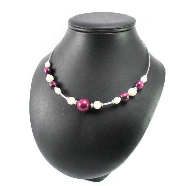 Collier perles en ivoire v g tal blanc et mauve tagua - Blanc comme l ivoire ...