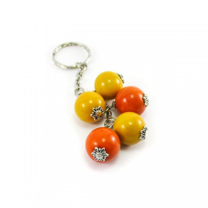 Porte cl perles d 39 ivoire v g tal jaune orange tagua - Porte cle perle ...