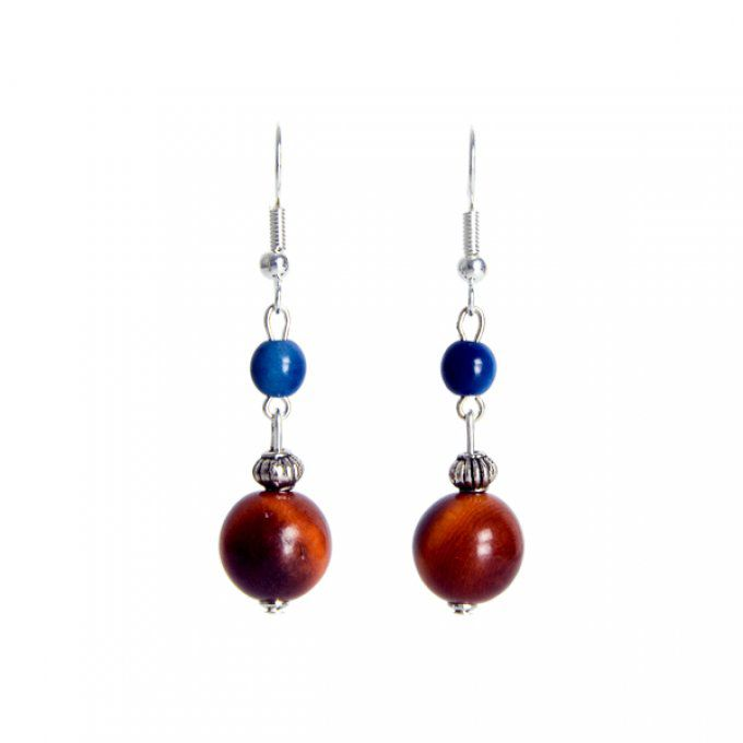 duo de perles en ivoire v g tal marron et bleu tagua. Black Bedroom Furniture Sets. Home Design Ideas