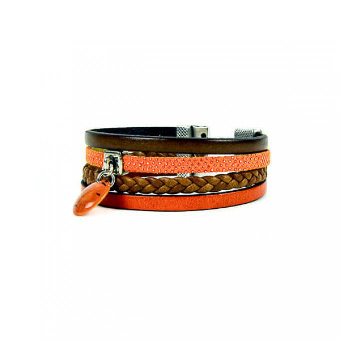 bracelet chic en cuir orange et marron