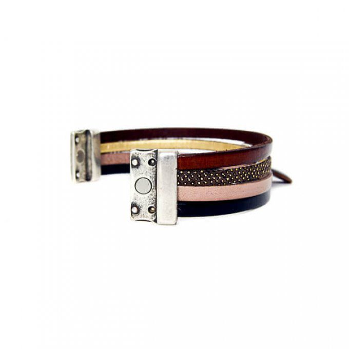 bracelet mode marron et fermoir aimant