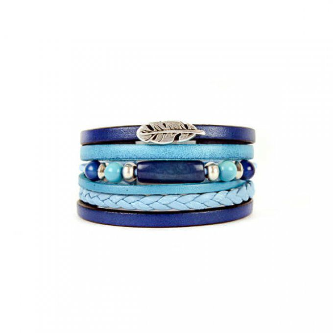 bracelet blue love en cuir véritable made in France