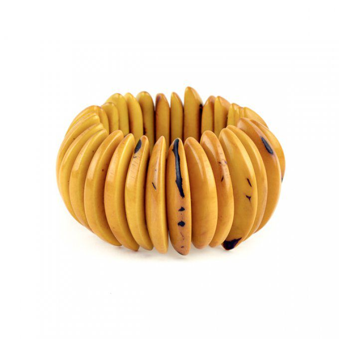 bracelet graine de tagua jaune collection 2018