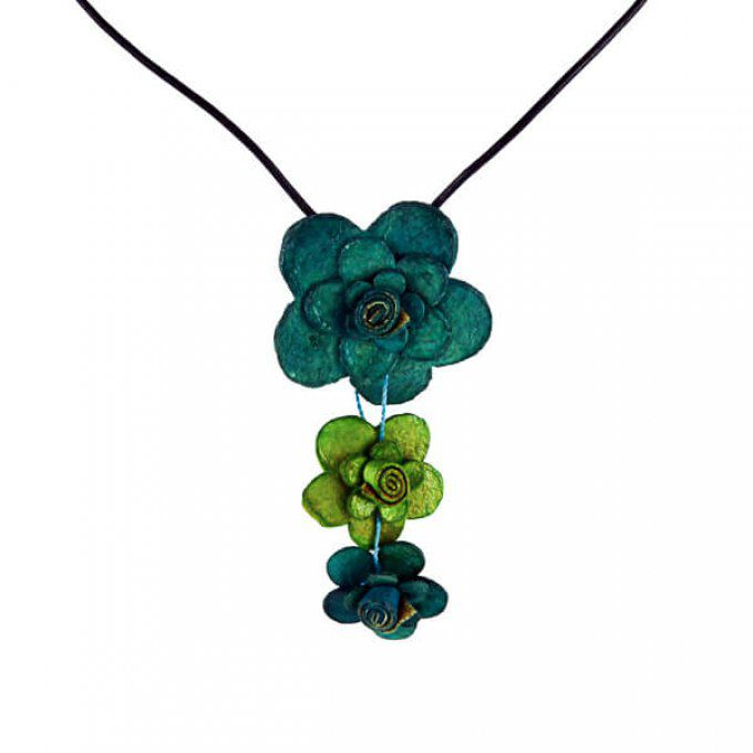 Collier chic fleur turquoise vert