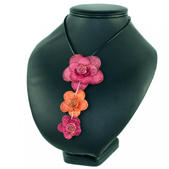 Collier éthique en peau d'orange rose orange