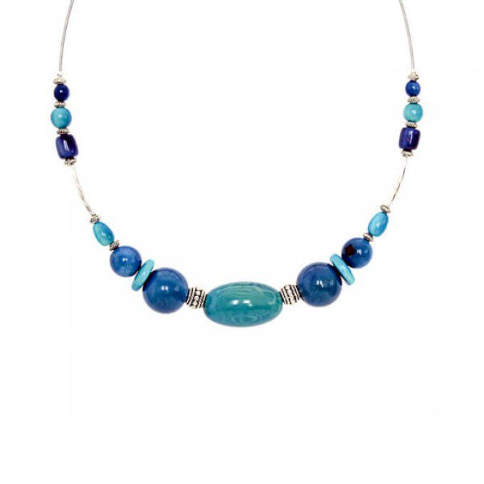 collier perle bleu turquoise