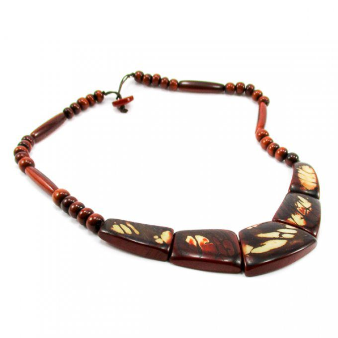 collier fantaisie en tagua marron