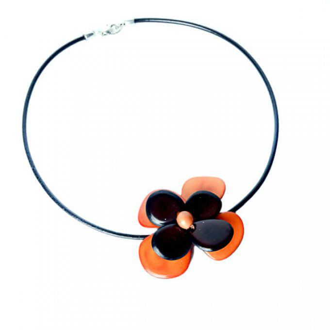 collier fantaisie pendentif fleur orange marron