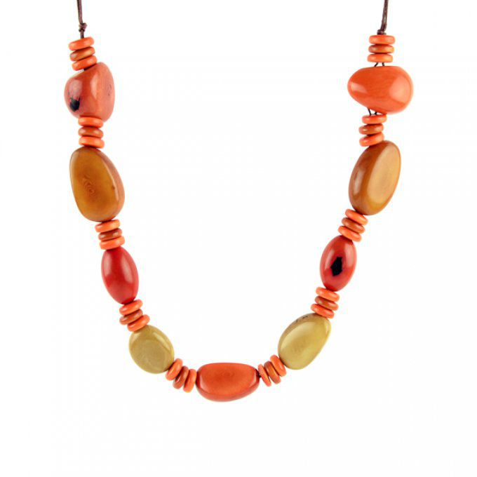 Collier long en ivoire végétal orange