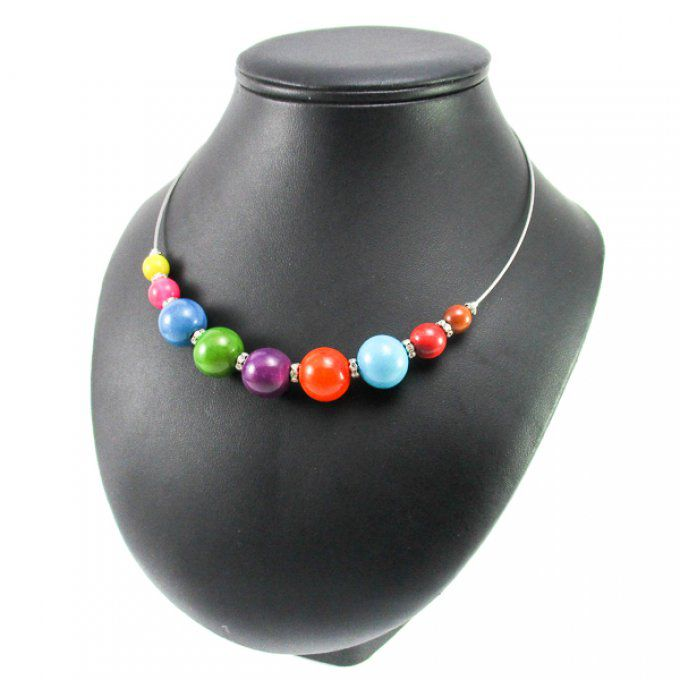 collier ras du cou multicolore