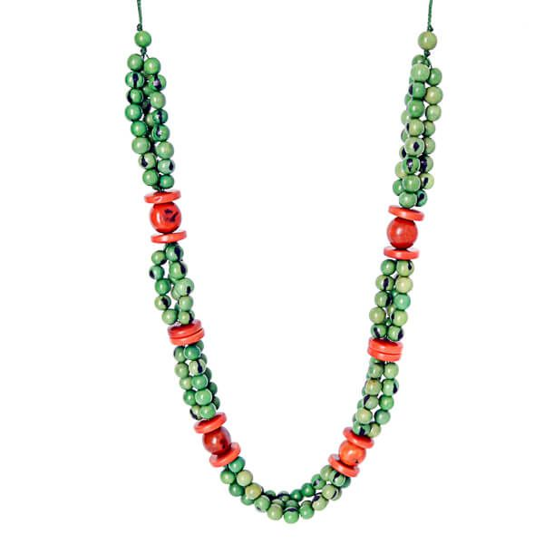 Collier long graines naturelles açaï vert