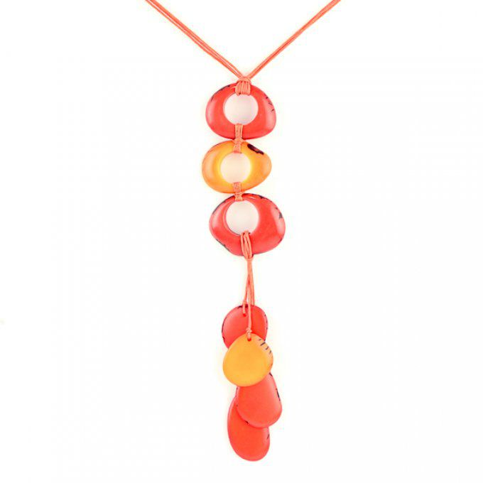 collier original tagua pétales pendentif jaune et orange